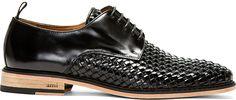 Ami: Black Woven Leather Derbys