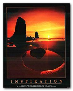 Inspiration Ocean Sunset Motivaional Wall Décor Art Print...…