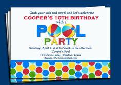 Pool Party Invitation Printable - Splash, Pool Party, Swim Party