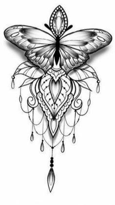 Butterfly Mandala Tattoo, Butterfly Tattoo Designs, Mandala Tattoo Design, Tattoo Design Drawings, Butterfly Drawing, Mehndi Designs, Henna Tattoo Designs, Tattoo Ideas, Paisley Tattoos