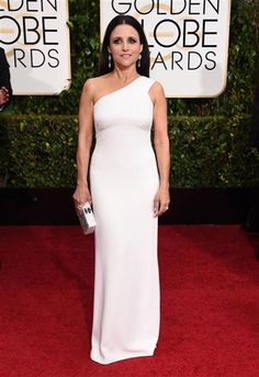 Julia Louis-Dreyfus arrives at the 72nd annual Golden Globe Awards at the Beverly Hilton Hotel in Beverly Hills, Calif., on Jan. 11, 2015.