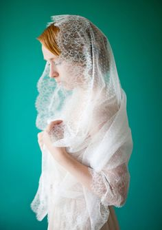 Wedding Veil Bridal Mantilla Veil Lace Point por sibodesigns