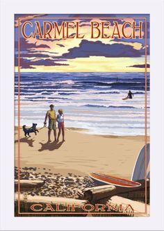 Carmel Beach, California - Sunset Beach Scene - Lantern Press Artwork (12x18 Giclee Art Print, Gallery Framed, White Wood), Multi