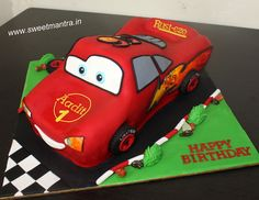 Disney Pixar Cars Lightning McQueen shaped 3D designer fondant cake for boy's 1st birthday at Pune