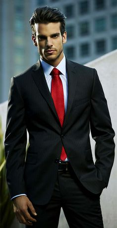 men's suit with red tie