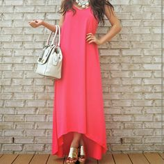 Pink maxi dress Brand new without tags! Stunning dress that feels like silk against your skin.  Fits xs/s ? made of 100% polyester.  Channel your inner goddess with this stunning piece! Dresses Maxi