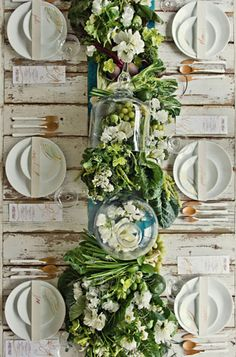 green natural rustic centerpieces table runner