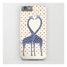 Giraffes In Love - A Valentine's Day Illustration iPhone 6s Case ($35) ❤ liked on Polyvore featuring accessories, tech accessories e iphone & ipod cases