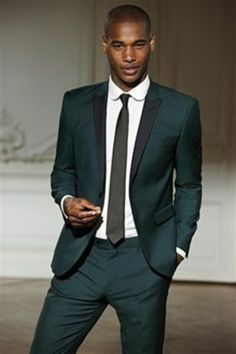 Impose your style with black lapel custom made olive green tuxedo for men.