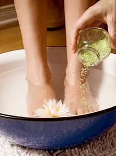 warm water and 1/4 cup detox mixture (1 cup sea salt, 2 cups baking soda and 1 cup epsom salt = detox mixture) creates a detox through the feet by soaking feet for 30 minutes.