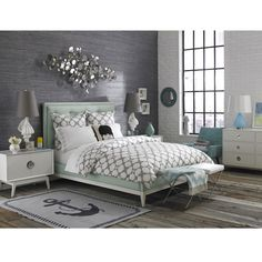 Like this all except the anchor rug. Jonathan Adler Modern Romantic Bedroom in Modern Romantic Bedroom Dream Bedroom, Home Bedroom, Modern Bedroom, Bedroom Decor, Bedroom Mint, Wall Decor, Bedroom Colors, Design Bedroom, Bedroom Ideas