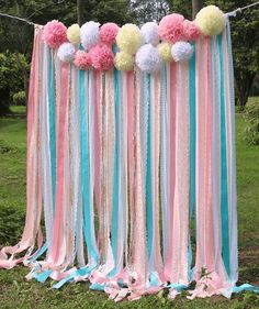 Pink white Lace mint ribbon Pom Poms flowers Sparkle fabric backdrop Wedding ceremony stage,birthday,baby shower backdrop party Garland by SilverDrawer on Etsy Fabric Backdrop Wedding, Diy Backdrop, Ceremony Backdrop, Backdrop Photobooth, Birthday Backdrop, Backdrop Decorations, Garland Wedding, Baby Shower Background, Baby Shower Backdrop