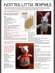 Page 1 of 4 Knitted Doll Patterns, Animal Knitting Patterns, Christmas Knitting Patterns, Knitted Dolls, Stuffed Animal Patterns, Crochet Toys, Simply Knitting, Little Cotton Rabbits, Fabric Animals