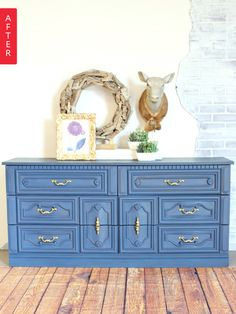 Before & After: Garage Sale Dresser Gets the Blues