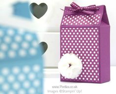 Spotty Triangular Top Box Tutorial using Stampin' Up! Polka Dot Parade Paper Rich Razzleberry