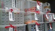 Despensa organizada e etiquetada.