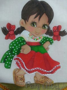 Pintura textil niña mexicana paty albri