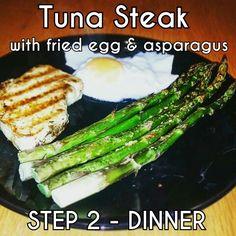 Tuna Steak #Step2 #cwp #CambridgeDiet Cambridge Weight Plan, Tuna Steaks, Asparagus, Diet Recipes, Healthy Eating, Meals, Dinner, Vegetables, Food