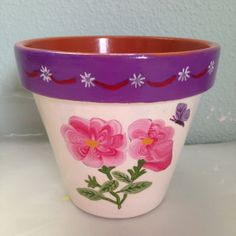 4 terra cotta pot w/pink peonies by HandPaintedByTrish on Etsy, $6.00