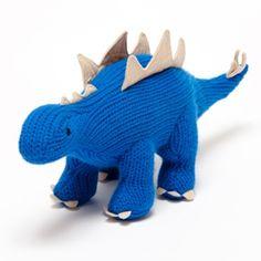 Pebble Toys - Fairtrade Toys - Knitted Stegosaurus Toy - Blue