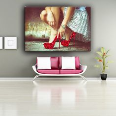 Girl wear red high heels decorative canvas art painting with flash powder, View canvas painting, Classic-Maxim Product Details from Hangzhou Maxim Industry Co., Ltd. on Alibaba.com