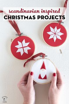 9 Simple and fun Scandinavian DIY Christmas deocrations. From Gnome patterns, to Christmas pillow tutorials and ornaments, cute projects. Scandinavian Christmas Decorations, Diy Christmas Lights, Christmas On A Budget, Decorating With Christmas Lights, Felt Christmas Ornaments, Christmas Crafts, Christmas Pillow, Christmas Fabric, Christmas Decorations To Make