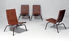 FABIAAN VAN SEVEREN Suite de quatre chauffeuses modèle «Crossed legs» Cuir