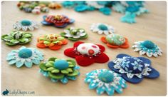 Covered buttons made into flowers