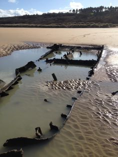 Remains of a Higgins Boat on Omaha Beach, Normandy, France (taken March 1, 2014)