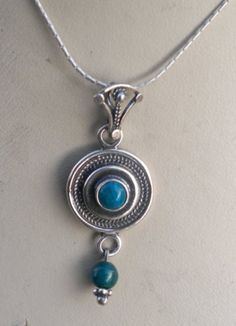 Necklace sterling silver pendant set with Eilat stone by Bluenoemi, $59.00