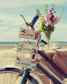 Live, Love, Laugh Signs on the handle bars of a bike Happy Sunday Quotes, Happy Day, Happy Weekend, Happy Life, Live Laugh Love, Live Love, Einstein, Summertime, In This Moment
