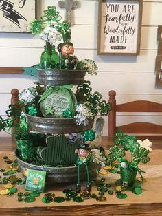 St Patrick's Three Tiered Tray Holiday Crafts, Holiday Fun, Galvanized Tiered Tray, Sant Patrick, St Patrick's Day Decorations, Tiered Stand, St Paddys Day, Luck Of The Irish, Tray Decor