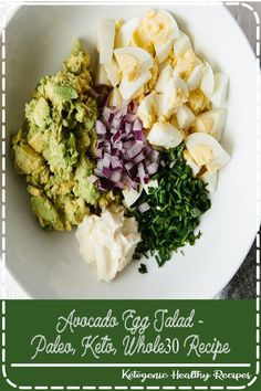 This avocado egg salad takes your classic egg salad recipe and adds healthy avocado for a creamy, nutritious and tasty new avocado egg salad recipe you're sure to love. It's a delicious paleo, keto and recipe. Easy Healthy Recipes, Easy Dinner Recipes, Vegetarian Recipes, Easy Meals, Breakfast Recipes, Breakfast Healthy, Easy Salads, Lunch Recipes, Drink Recipes