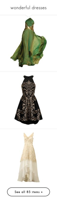 """""""wonderful dresses"""" by forebodinq ❤ liked on Polyvore featuring dresses, gowns, long dresses, green, green evening dresses, green evening gown, roberto cavalli dresses, roberto cavalli gowns, roberto cavalli evening gowns and clothing - dresses"""