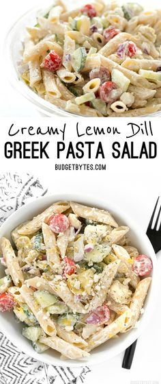 Creamy Lemon Dill Greek Pasta Salad is packed with bold flavors and fresh vegetables, making it a delicious light lunch. @budgetbytes