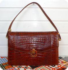 VINTAGE LEDER Tasche Schultertasche Handtasche Leather Bag Mad Men Sac Kroko in Kleidung & Accessoires, Damentaschen | eBay