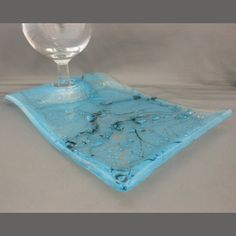 fusion glass plates | Bubbles Fused Glass Wine & Dine Plate by PattyMelts on Etsy