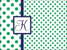Personalize your cutting board, Green and blue polka dot $42.00