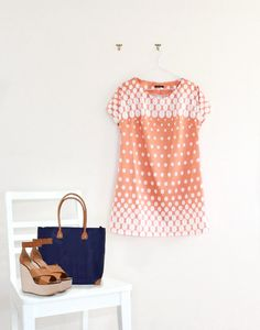 Orange Retro Print Mod Mini Shift Dress.