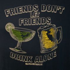 Jimmy Buffett Margaritaville Mens XL Dont Let Friends Drink Alone Blue T Shirt #Margaritaville #GraphicTee