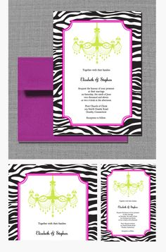 FREE PDF Template. Zebra Chandelier Wedding Invitation. Free to download, very easy to edit and print at home.