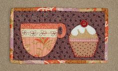 This mug rug was inspired by the Patchwork Pottery tea cup pouch. Addicted to mug rugs? Help is available at The Patchsmith. Small Quilts, Mini Quilts, Mug Rug Patterns, Quilt Patterns, Quilting Projects, Sewing Projects, Sewing Ideas, Fabric Postcards, Patch Aplique