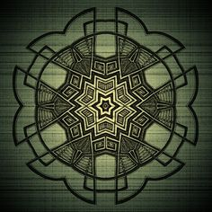 A Mandala outlined in black with a green and yellow aura.