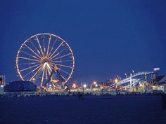 Ocean City, MD. The boardwalk is great fun at night as well as the free movies on the beach.