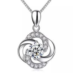 Latigerf Women Sterling Silver Lucky Ball Pendant Necklaces White Gold Plated