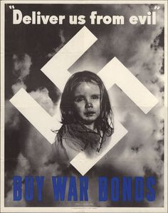 This image is designed to tug at your heartstrings by showing a little crying with a Swastika behind her. The government is trying to persuade the public to buy war bonds in order to save this little girl from Hitler and his Nazi regime.