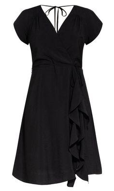 6f20f56ed8d Shop Women s Plus Size Satin Ruffle Dress - black - Dresses