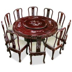 66in rosewood round dining table with 10 chairs pearl inlay design