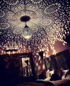 Beautiful ceiling lamp lampshade copper 100% artisanal Morocco This shade lamp will project the more captivating motifs through the walls and ceilings EPIC design with beautiful light reflection Materials used: copper We have Shipp worldwide For more details please feel free to contact me. The