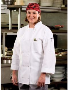 10 Button Chef Coat, available in 3 colors. Features a left-arm thermometer pocket and chest pocket.